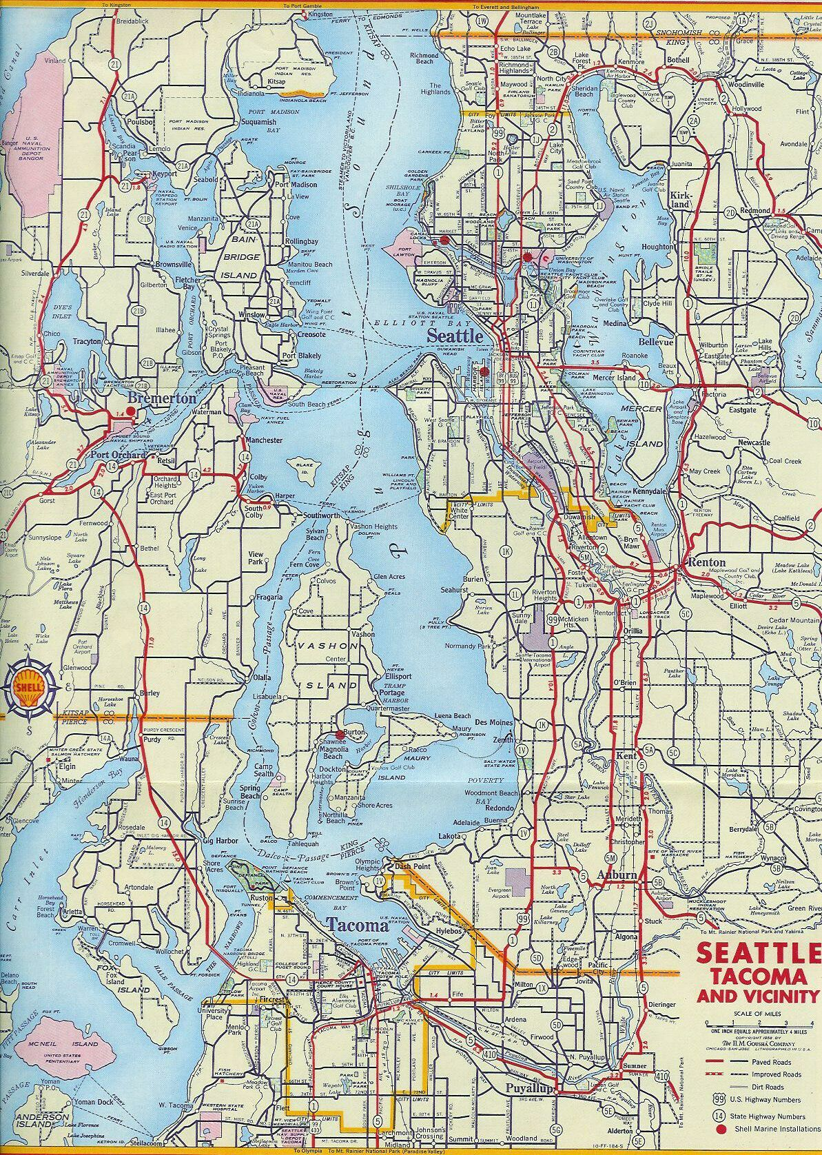 1956 Map Of Seattle Tacoma Area